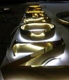 Напольное водоустойчивое дело освещенное контржурным светом 3D подписывает покрынные кромом письма металла