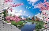 Цветение голубого неба и вишни напечатало на панели стены для домашнего украшения
