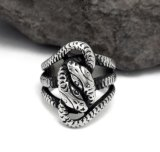 Uitstekende Zilver van het Roestvrij staal van de Ring van de Kwal van Hydra het Mannelijke