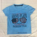 Blue Wash Boy T-Shirt Tissus avec USA Glass Printing Sq-6628