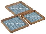 S/3 carré en bois de mariage d'impression personnalisée desservant le bac W/la poignée