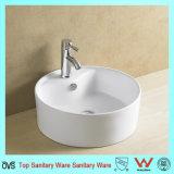 Forme ronde de style moderne vitré en céramique lavabo