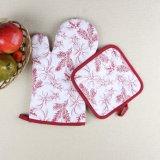 葉は耐熱性マイクロウェーブ専門のオーブンの手袋の鍋つかみを印刷した