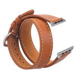 Doppeltes Ausflug-echtes Leder-Uhrenarmband für Iwatch Brücke