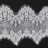 백색 부채 모양으로 만들어진 속눈섭 뜨개질을 하는 직물 Tulle 레이스 직물