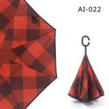 Изготовленный на заказ тип вверх ногами напольный обратный выдвиженческий зонтик c печати автомобилей