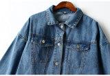 55% Cotton/45% Polyester zum Freund-Gefühl - lose mit Kapuze beiläufige Denim-Überformatumhüllung