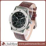 Tira de couro impermeável personalizadas dos homens relógio de pulso de quartzo