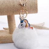 Мода мех POM цепочки ключей/поддельные пушистый шарик с кольцом