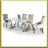 Muebles de Comedor moderno Set / Chrome sillas de terciopelo crema juego de mesa de comedor
