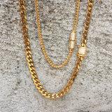 18K 금 다이아몬드 걸쇠 쿠바 링크 사슬 목걸이 Mjcn056