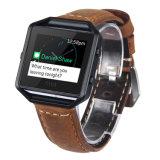 Fitbitの炎のスマートな適性バンドのための金属フレームが付いている偶然の革置換の時計バンド