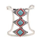 파란 다이아몬드 절반 정지 팔목 팔찌 모양 3개의 층 I