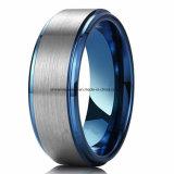 Alta qualità fra l'azzurro e l'anello maschio dell'anello del tungsteno dell'argento (TSTBL04)