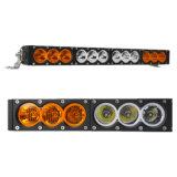 120W 22 pouces double de couleur blanc LED ambre jaune une seule rangée de barre de feux de travail
