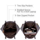 Sacs de cru de l'eau de grande capacité de cuir résistant et de toile pour des femmes avec la chemise d'ordinateur portatif de 15.6 pouces