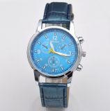 Het promotie de drie-Wijzerplaat van de Legering OEM Horloge van het Kwarts met de Riem van Pu