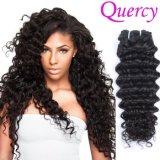 O cabelo humano brasileiro do Virgin natural profundo da cor da venda por atacado da onda barato Sew no Weave