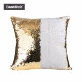 Sublimación Blank Flip Sequin almohada cubierta con la impresión fotográfica personalizada (Oro w/ blanco) (BZLP4040G-W)