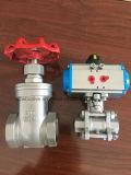 200psi Stainles filetage en acier de la valve de roue avec poignée rouge