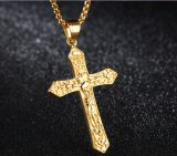 Silver&Goldカラーブランドの女性の人のための吊り下げ式のネックレスの骨董品の十字の十字架像のイエス・キリストの十字の吊り下げ式のネックレス
