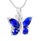 De Juwelen van de Crematie van het Huisdier van het Roestvrij staal van de Halsband van de Urn van het Kristal van de Vorm van de vlinder
