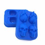 Fácil reutilizable más nuevo respetuoso del medio ambiente de la categoría alimenticia del FDA empujar el cubo de hielo del silicón de la dimensión de una variable del cráneo del whisky 3D de los cocteles, molde del hielo