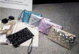 Les montures filtre cosmétiques en gros de bonne qualité composent les lignes en pierre pourpre lustré de sac de pochette de mode d'argent de bourse de pièce de monnaie