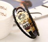 La lega Bronze inarca 12 costellazioni del braccialetto dello zodiaco del braccialetto del branello del Gallstone di legno di cuoio punk del nero dei monili unisex di fascino