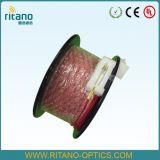 Meneo de OTDR. El rectángulo del caso plástico con el lanzamiento del G. 652D cablegrafía