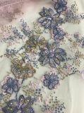絹ヤーンおよび水晶のElie明るいSaab様式となされる花が付いているレース