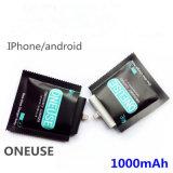 Banco de potencia desechables 1000mAh compatible con Android y ios cargador de emergencia