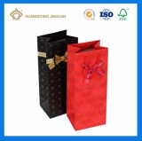 Bolso de empaquetado de papel de las compras del regalo de encargo del vino para la sola botella