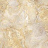 Mattonelle della porcellana lustrate superficie lucida di disegno del marmo di colore dell'oro per la decorazione interna