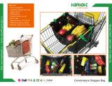 Sacchetto di verdure del carrello del carrello di acquisto del poliestere pieghevole riutilizzabile 210d