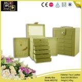 Custom Luxury Pink Gaveta grande caixa de jóias de pele artificial (8021)