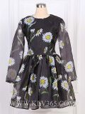 Moda ropa mujer vestidos de manga larga primavera florales