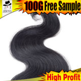 Type de cheveu brésilien d'onde de corps noir de gicleur sur la ligne