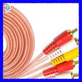 3RCA aan 3RCA de Transparante Verpakkende Kabel van de Draad