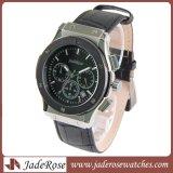 人のための古典的な革水晶腕時計の贅沢な腕時計
