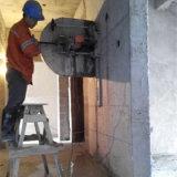 El corte del muro de cemento consideró la máquina