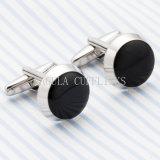 Cufflinks 695 черной картины VAGULA серебряные покрынные круглые