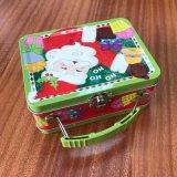 Weihnachtsmann-Griff-Blechdose-Zinn-Kasten