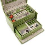 Echtes Leder-Kalk-Grün-Schmucksache-Kasten mit Arbeitsweg-Fall