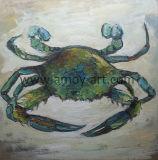 Lienzo de pared artesanal cangrejo azul de Arte Óleo dolido por la cuchilla