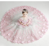 Princesa atada luxo de passeio Pingamento da fantasia do vestido do modelo das meninas de Litte