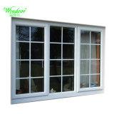 Scivolamento di doppia finestra lustrata del PVC con il disegno della griglia