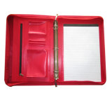 リングバインダが付いているカスタム携帯用ジッパーA4 Hangleの革ブリーフケースのポートフォリオ