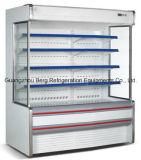 Refrigerador de exibição de bebidas verticais de vidro com interior de cortina de ar