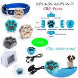 Traqueur imperméable à l'eau de l'animal familier GPS avec le WiFi Anti-Détruit et l'alarme V30 de Geo-Frontière de sécurité